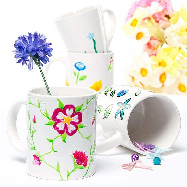 Pretty flower mugs free craft ideas baker ross pretty flower mugs these floral designs will breathe new life into your crockery mix and match the colours to suit mightylinksfo