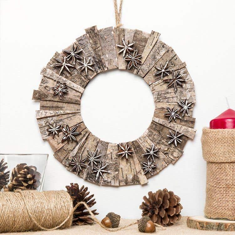 Natural Bark Wreath Free Craft Ideas Baker Ross