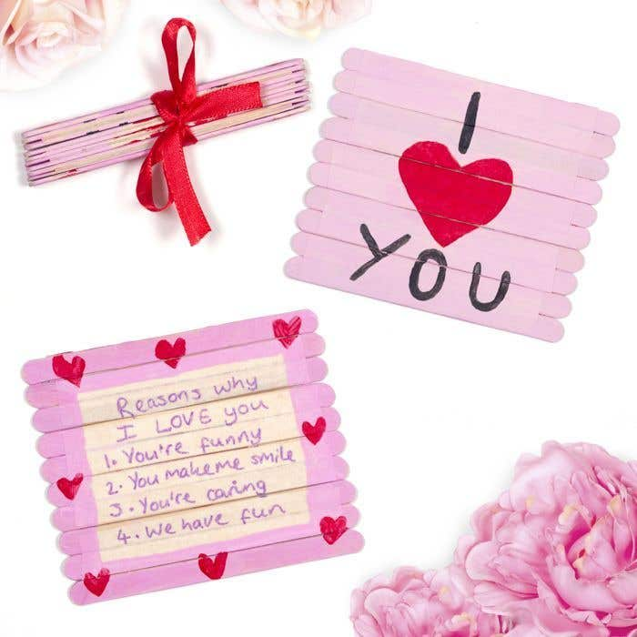 valentine folding pop stick card free craft ideas baker ross