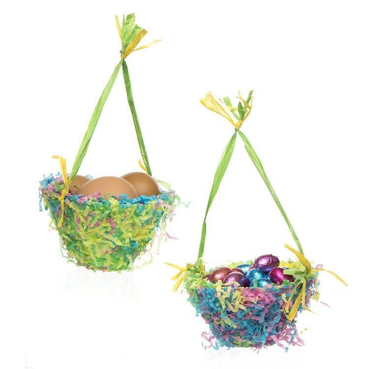 Easter baskets free craft ideas baker ross these colourful baskets are quick and easy to make using shredded tissue for a nest effect use them at egg hunts or as containers for your easter gifts negle Images