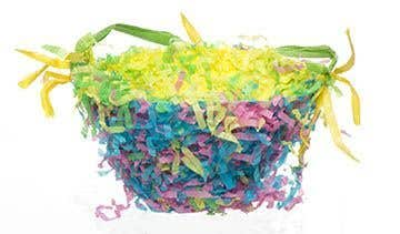 Easter baskets free craft ideas baker ross make 2 holes at the side of the basket then thread some raffia or ribbon to make a handle fill any areas where the paper plate is showing through with more mightylinksfo
