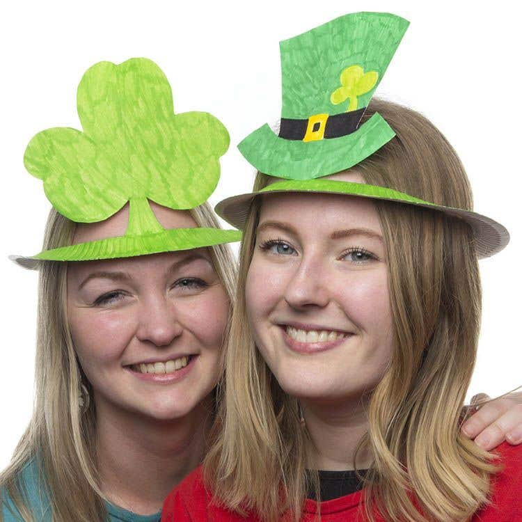 Turn simple paper plates into these fun hats to wear at your St. Patricku0027s Day celebrations!  sc 1 st  Baker Ross & Shamrock and Leprechaun Hats | Free Craft Ideas | Baker Ross