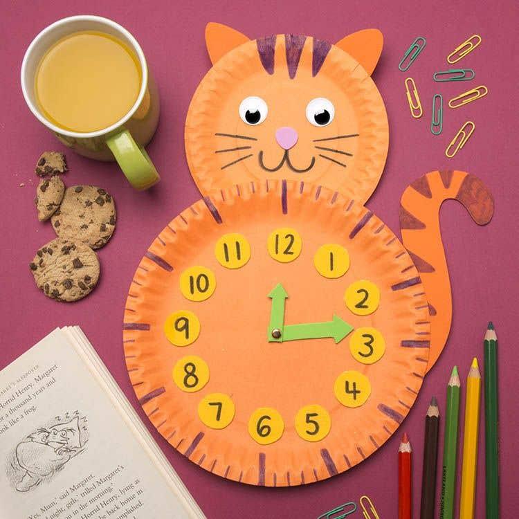 Paper Plate Cat Clock Free Craft Ideas Baker Ross