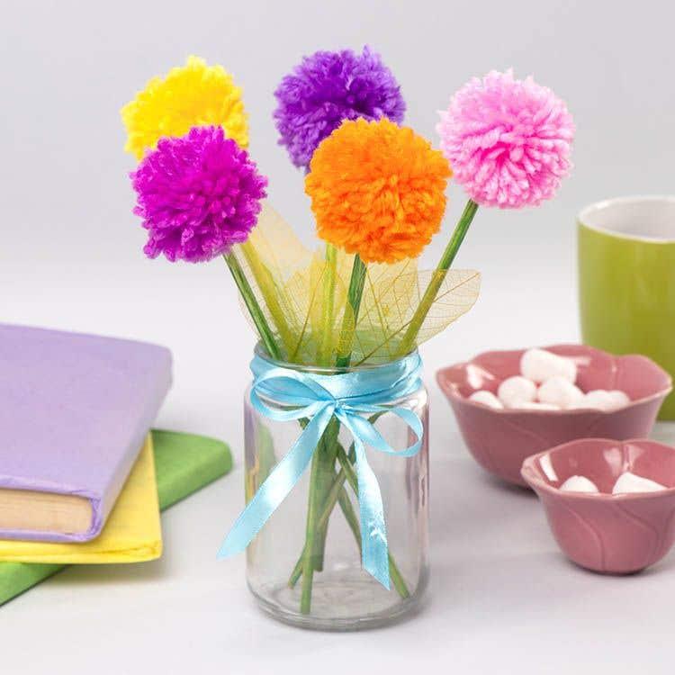 Pom Pom Flower Bouquet Free Craft Ideas Baker Ross