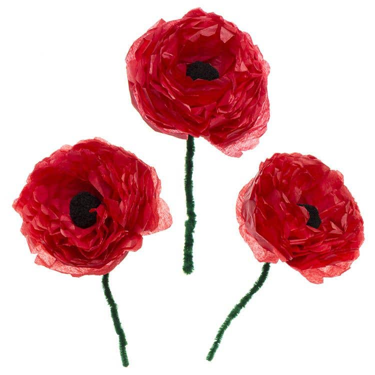 Large Tissue Paper Poppies Free Craft Ideas Baker Ross