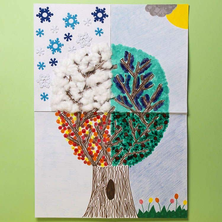 wall display finger painted season tree