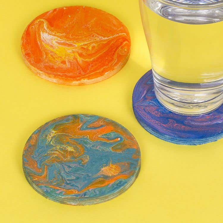 Dirty Pour Coasters Free Craft Ideas Baker Ross