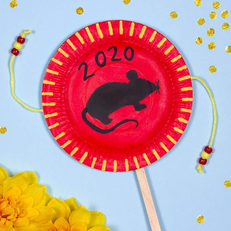 Chinese New Year Paper Plate Drum | Free Craft Ideas ...