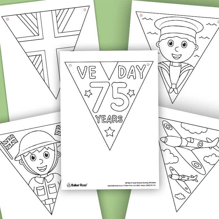 VE Day Anniversary Colour-in Bunting | Free Craft Ideas | Baker Ross