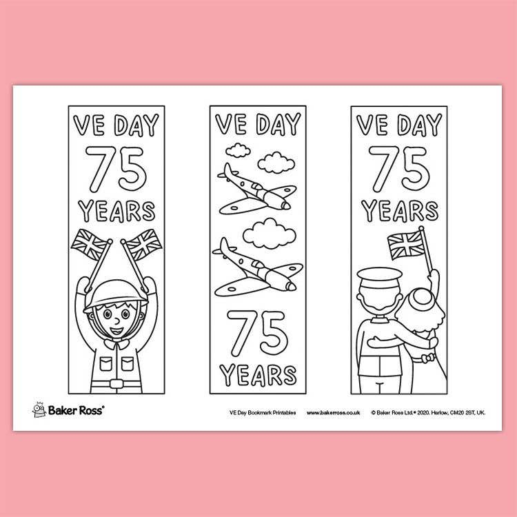 VE Day Anniversary Colour-in Bookmarks | Free Craft Ideas ...