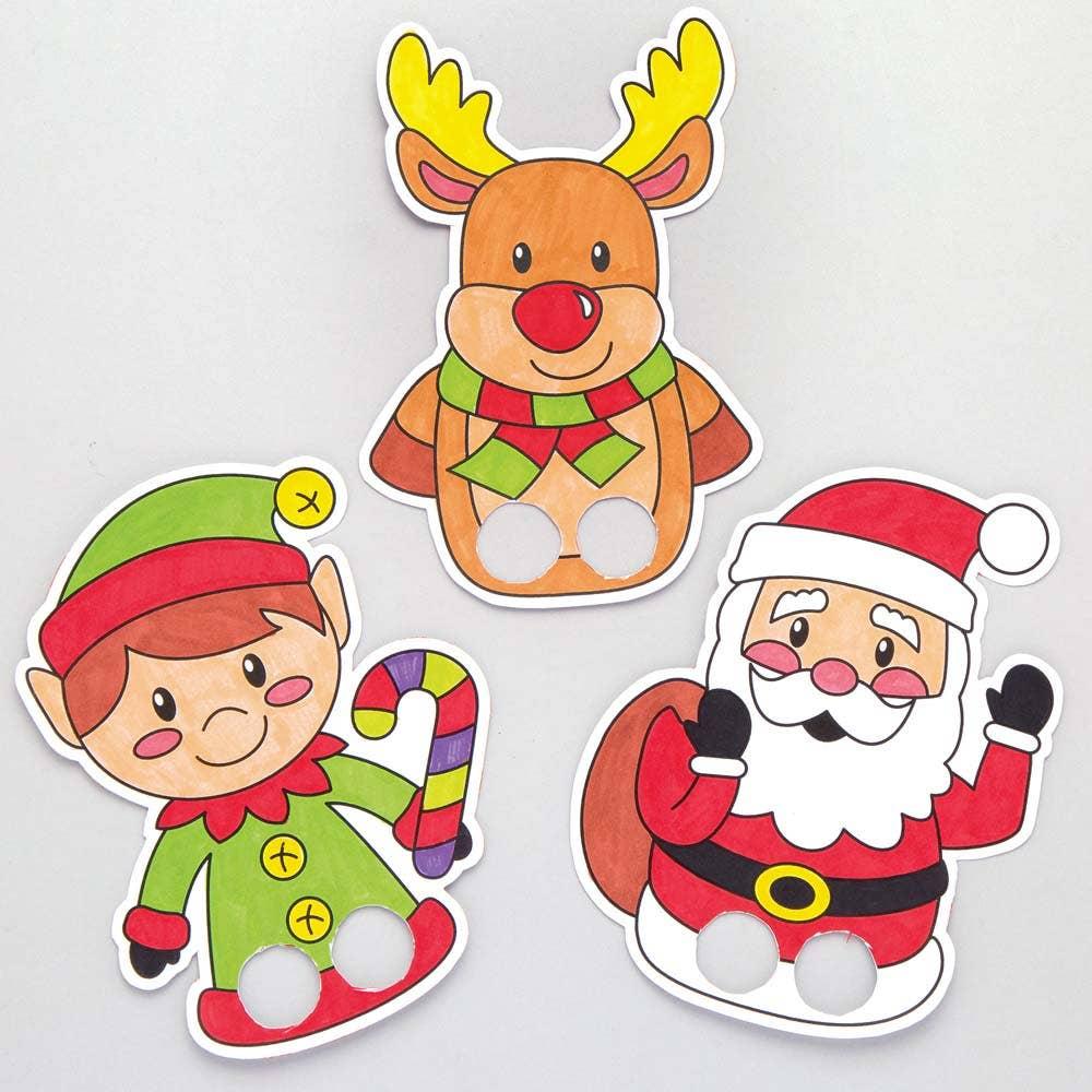 Christmas Colour-in Finger Puppets - Baker Ross