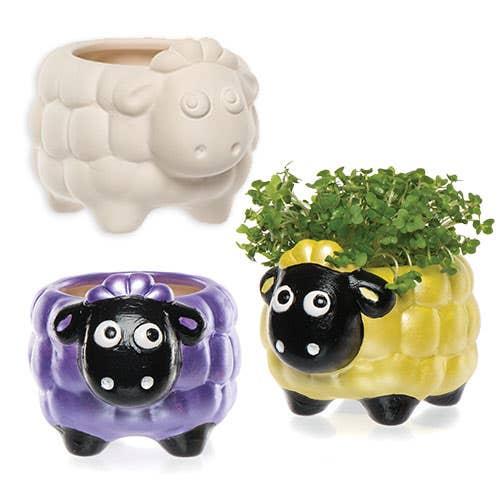 Fluffy Sheep Ceramic Planters - Baker Ross