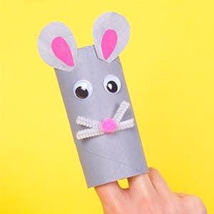Rat Cardboard Tube Puppet